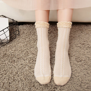 Candy Color Breathable Mesh Flower Pattern Cotton Short Socks - chicstocking