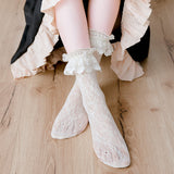 Lolita Hollow Mesh Lace Flower Ruffle Socks - chicstocking