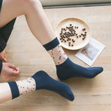 Lace Flower Patchwork Solid Color Cotton Socks - chicstocking