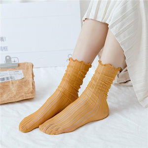 Solid Color Stripe Mesh Stringy Selvedge Socks - chicstocking