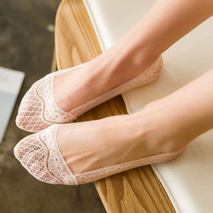 Lace Flower Women No Show Ankle Invisible Socks - chicstocking
