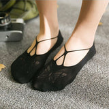 Butterfly Pattern Bowknot Cross Line Women No Show Ankle Invisible Socks - chicstocking