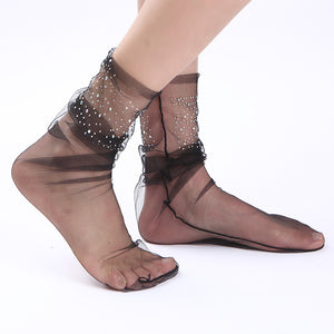 Glitter Diamond Transparent Glass Silk Socks - chicstocking