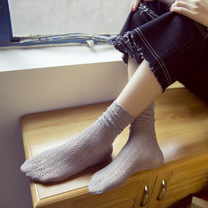 Solid Color Velvet Hollow Fishnet Women Slouch Socks - chicstocking
