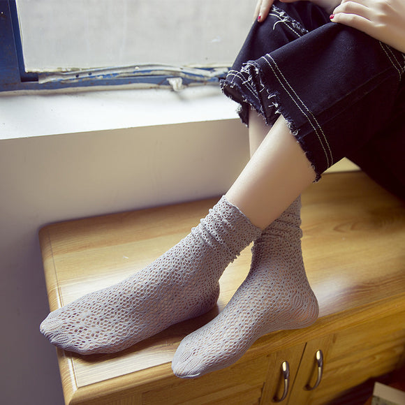 Velvet Hollow Lace Women Socks - chicstocking