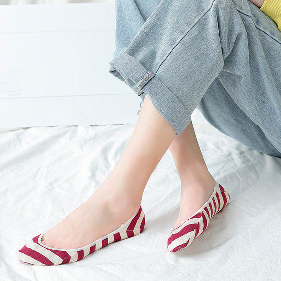 Stripe No Show Ankle Invisible Socks - chicstocking