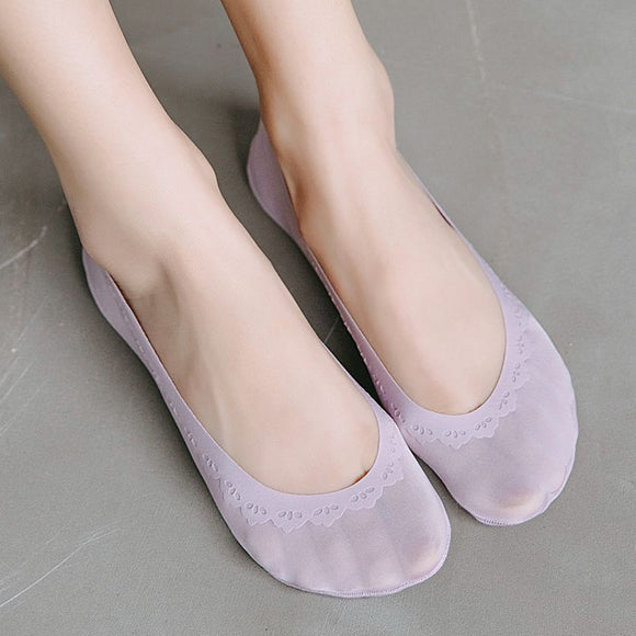 Summer Crown Solid Color No Show Ankle Invisible Socks - chicstocking
