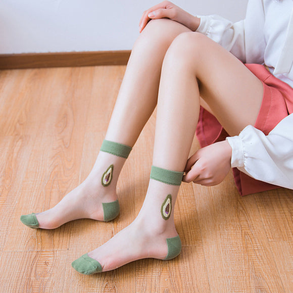 Summer Lovely Sweet Fruit Transparent Breathable Ultra-thin Ankle Invisible Socks - chicstocking