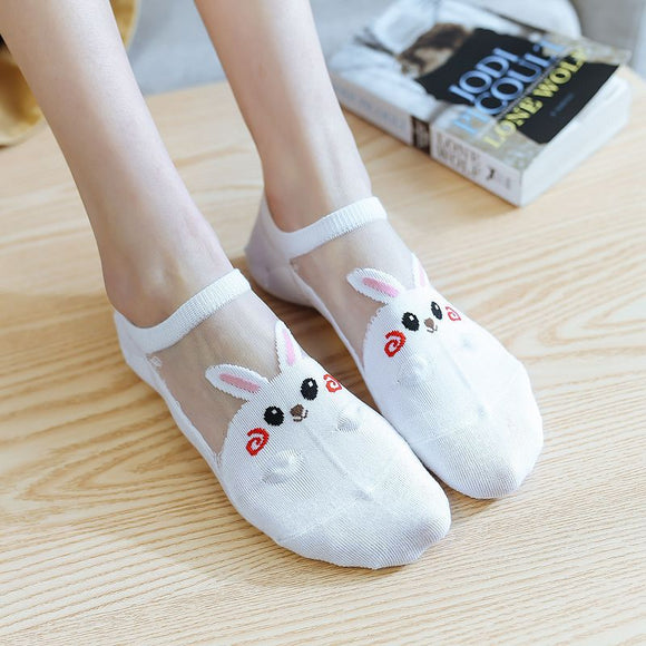Cartoon Cute Animal Glass Silk No Show Ankle Invisible Socks - chicstocking