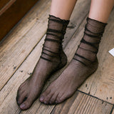 Glitter Gauze Ruffle Slouch Women Socks - chicstocking