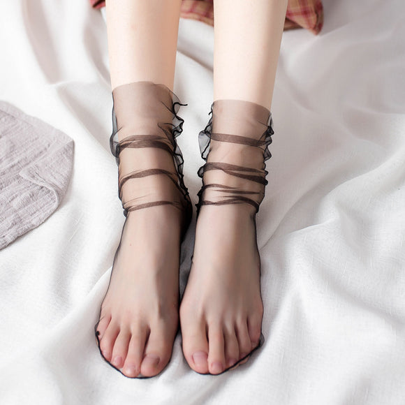Sweet Guaze Mesh Transparent Ruffle Slouch Socks - chicstocking
