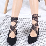 Summer Lace Flower Lacing Tie Mesh No Show Ankle Invisible Socks - chicstocking