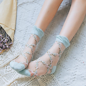 Sweet Ruffle Lace Flower Glass Silk Women Socks - chicstocking