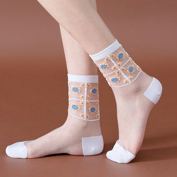 Summer Ultra Thin Daisy Flower Transparent Mesh Glass Silk Socks