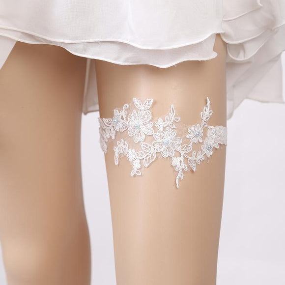 Wedding Garter Rhinestone Beading White Embroidery Floral Sexy Garters for Women/Female/Bride Thigh Ring Bridal Leg Garter - chicstocking