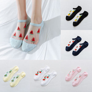 Summer Fashion Fruit Print Breathable Transparent Silk Socks - chicstocking