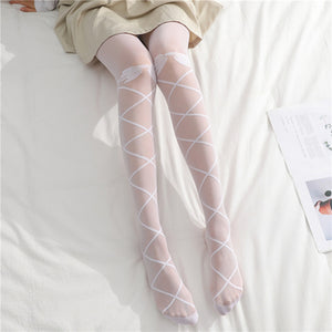 Cute Bow Ultra Thin Lace Elasticity Mesh Stockings Pantyhose