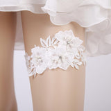 Wedding Garter Rhinestone Embroidery Flower Beading White Sexy Garters for Women/Female/Bride Thigh Ring Bridal Leg Garter - chicstocking