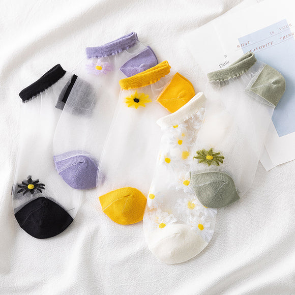 5 Pairs Daisy Crystal Silk Invisible Ankle Socks