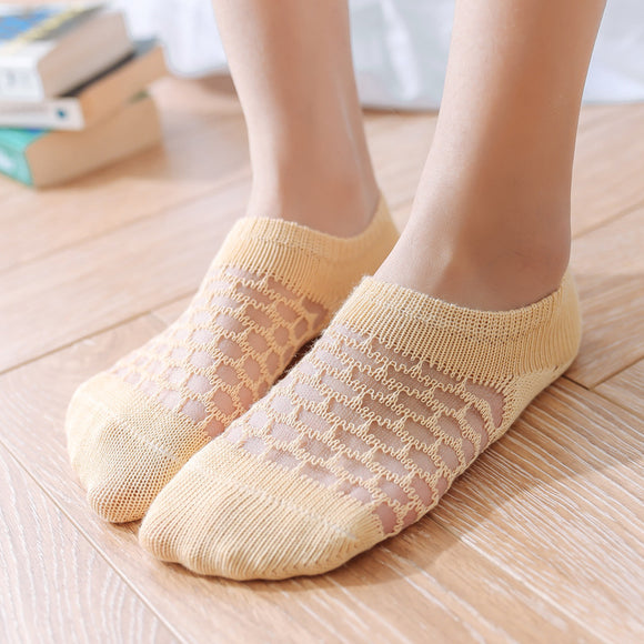 Hollow Mesh Cotton Breathable No Show Ankle Invisible Socks - chicstocking