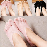 Solid Color Five Toe Mesh Breathable No Show Ankle Invisible Socks - chicstocking