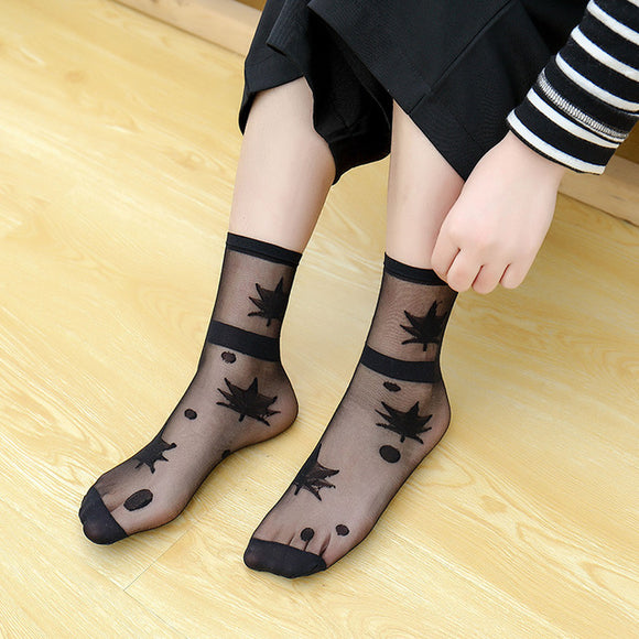Star Dots Hollow Out Summer Breathable Elastic Casual Girls Short Socks - chicstocking