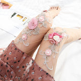 Handmade Embroider Sexy Mesh Breathable Women Thigh High Stockings Pantyhose - chicstocking