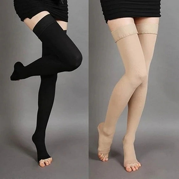 Knee-High Medical Compression Varicose Veins Open Toe Stockings - chicstocking
