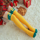Cute Winter Warm Coral Fleece Animal Modeling Striped Thigh High High Stockings