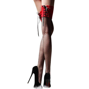 Sexy Women Fishnet Thigh High Sheer Lace Top Stockings - chicstocking