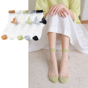 Summer Ultra Thin Transparent Breathable Glass Silk Short Socks - chicstocking
