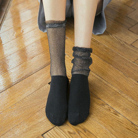 Glitter Lace Ruffle Half Silk Half Cotton Socks - chicstocking