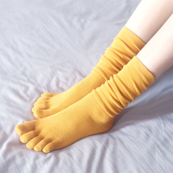 Solid Color Five Toe Knee High Socks - chicstocking