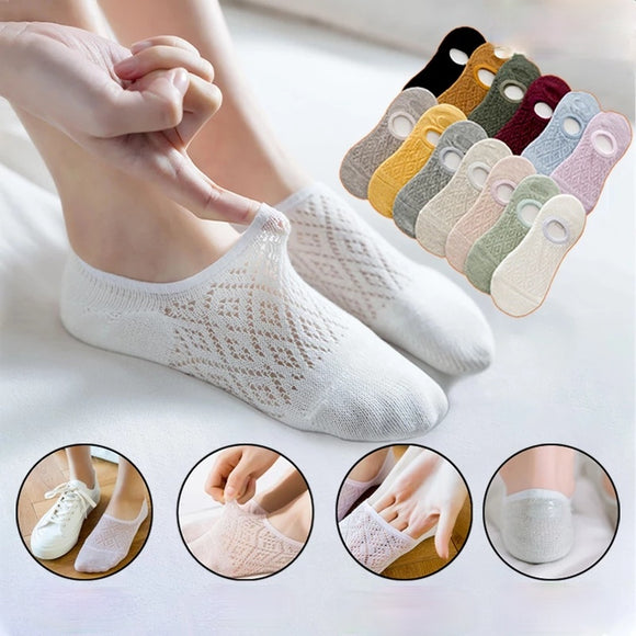 Solid Color Mesh Non-slip Invisible Ankle Socks
