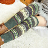 Winter Leg Warmer Striped Crochet Knitted Thigh High Stockings - chicstocking