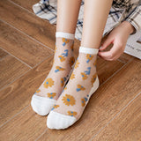 Summer Jacquard Patchwork Flower Breathable Glass Silk Short Socks - chicstocking