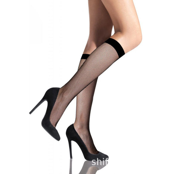 Sexy Lace Fishne Thollow Knee Anti-off Silk Women Socks