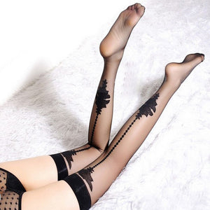 Ultra-thin Sexy Jacquard Thigh High Stockings - chicstocking