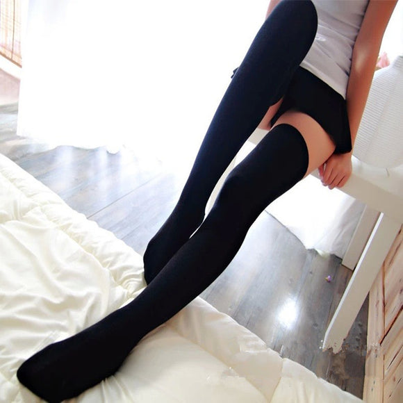 Winter Warmer Solid Color Thigh High Cotton Stockings - chicstocking
