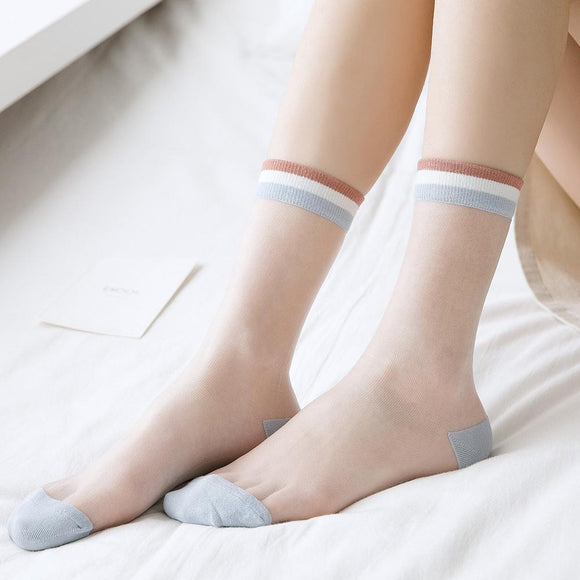 Super Thin Stripe Transparent Breathable Short Glass Silk Socks - chicstocking