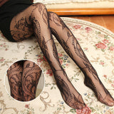 Retro Leaf Pattern Elasticity Hollow Mesh Stockings Pantyhose - chicstocking