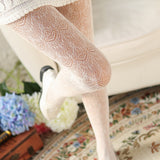 Retro Lolita Sexy Lace Flower Breathable Hollow Mesh Women Thigh High Stockings Pantyhose - chicstocking