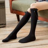 Solid Color Lace Bowknot Lolita Knee High Socks - chicstocking