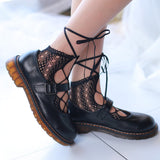 Lace Lolita Hollow Fishnet Cross Bowknot Women Socks - chicstocking
