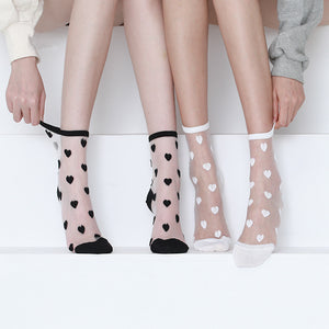 Candy Color Sweet Love Heart Transparent Breathable Women Short Socks - chicstocking