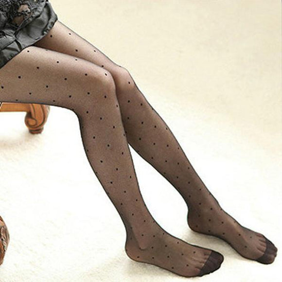 Sexy Summer Thin Transparent Jacquard Pantyhose Vintage Round Dot Tight Stockings - chicstocking