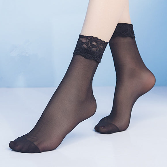 Summer Lace Ruffle Flower Glass Silk Short Socks - chicstocking