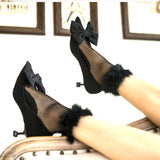 Faux Fur Edge Women Transparent Silk Socks - chicstocking