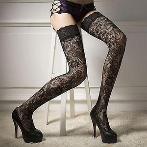 Women Sheer Lace Garter Stay Up Thigh High Hold Up Stockings Pantyhose