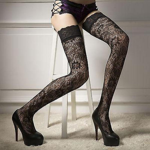 Women Sheer Lace Garter Stay Up Thigh High Hold Up Stockings Pantyhose - chicstocking